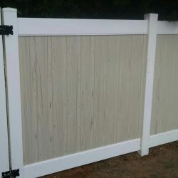 White posts and rails with streaked almond inlays